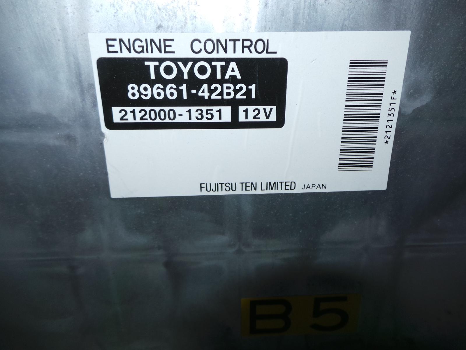 TOYOTA RAV4, Ecu, ENGINE ECU, 2.4, AUTO T/M TYPE, 89661-42B21, ECU ONLY, ACA2#R, 07/03-10/05