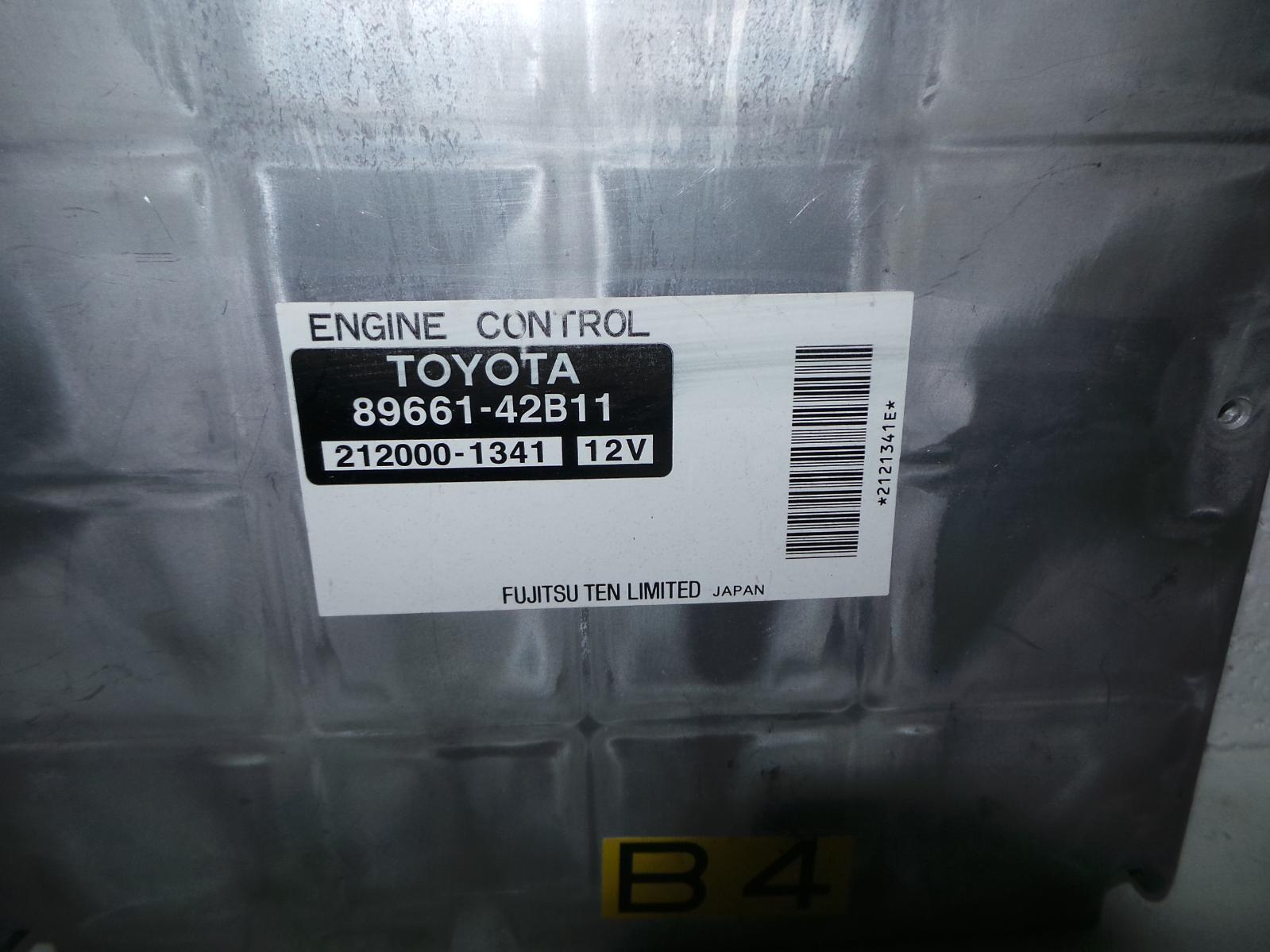 TOYOTA RAV4, Ecu, ENGINE ECU, 2.4, MANUAL T/M TYPE, 89661-42B11, ECU ONLY, ACA2#R, 07/03-10/05