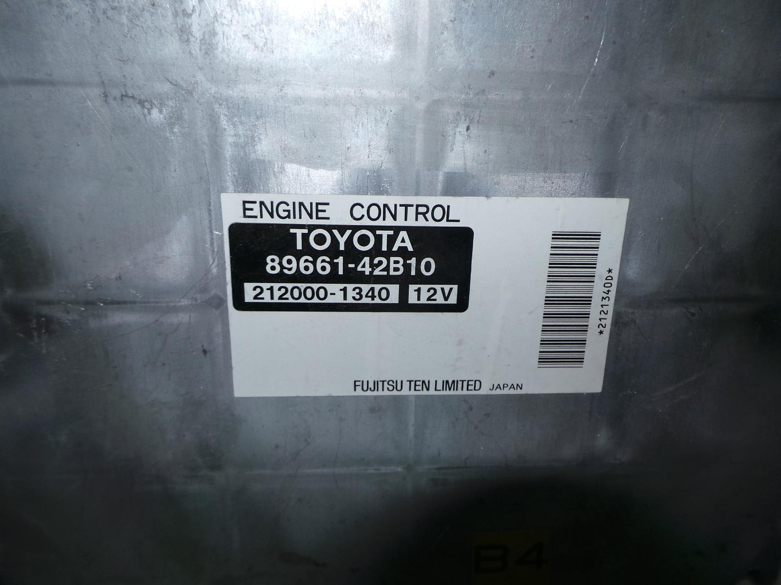 TOYOTA RAV4, Ecu, ENGINE ECU, 2.4, MANUAL T/M TYPE, 89661-42B10, ECU ONLY, ACA2#R, 07/03-10/05