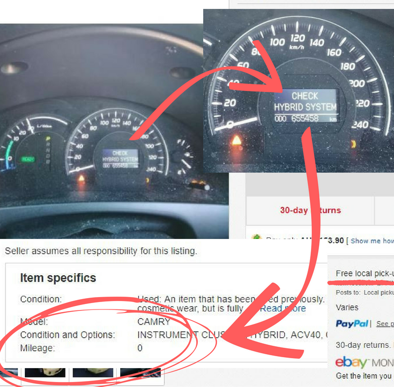 eBay listing the seller has noted zero kilometres in actual fact the kilometres were 655,458km's